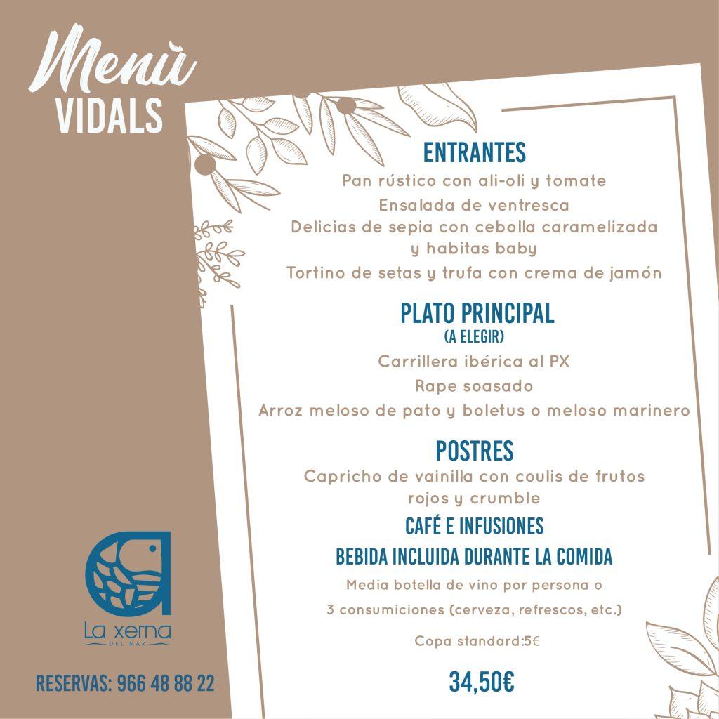 Menú Vidals